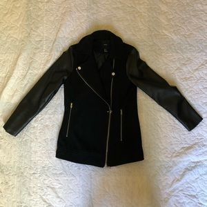 Black Moto Jacket - Wool with Faux Leather Sleeves